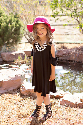 Girls A Little Bit of Shoulder Black Tunic Dress