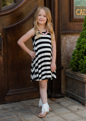 Girls Black and White Striped Short Tank Dress CLEARANCE