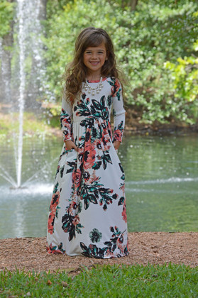 Girls Floral 3/4 Sleeve Maxi Ivory