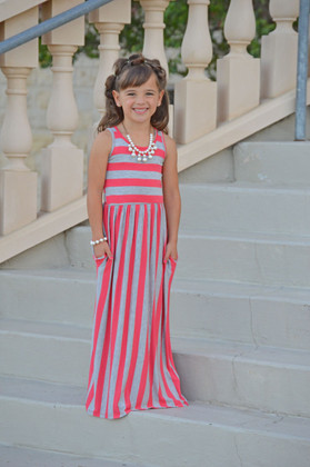 Girls Coral and Gray Striped Maxi Tank