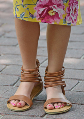 Girls Gladiator Sandals Tan CLEARANCE