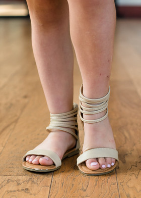 Girls Gladiator Sandals Beige CLEARANCE