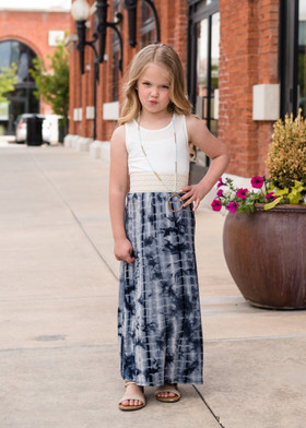 Girls Blue Tie-Dye Tank Maxi Dress