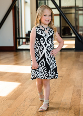 Girls Black/White Damask Criss Cross Dress