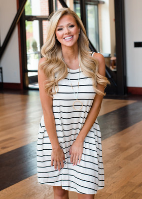 Mommy Striped Tank Dress Ivory/Black