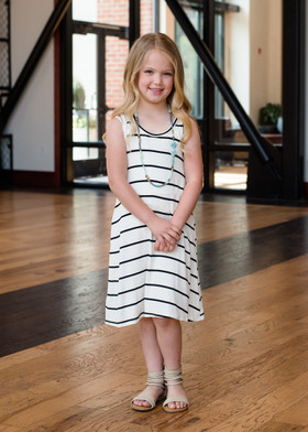 Girls Striped Tank Dress Ivory/Black