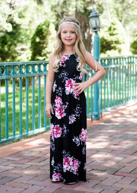 Girls Pink Floral Maxi Tank Black