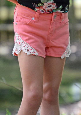 Girls Crochet Sides Shorts Coral CLEARANCE