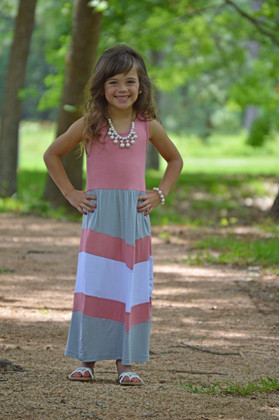Girls Chevron Tank Maxi Pink/Grey/White