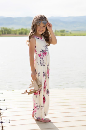Girls Pink Floral Maxi Tank Cream