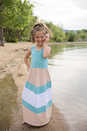 Girls Chevron Teal and Mocha Maxi