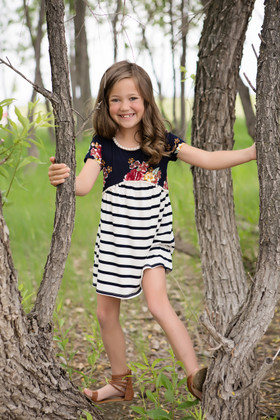 Girls Floral Navy and Pink Flowy Short Sleeve