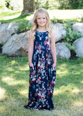 Girls Floral Long Luxurious Maxi Navy