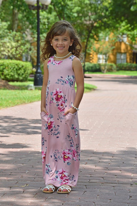 Girls Pink Floral Maxi Tank Rose