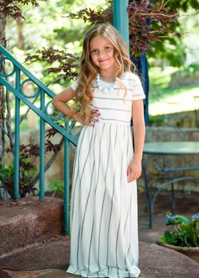 Girls Babydoll Striped Pocket Maxi Dress Ivory/Gray