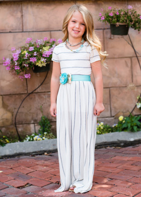 Girls Babydoll Striped Pocket Maxi Dress Ivory/Gray