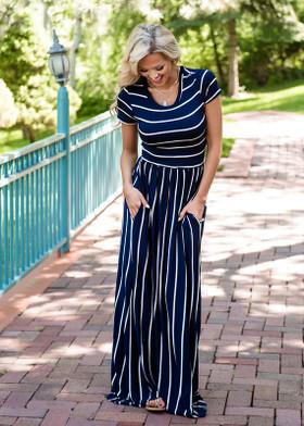 Mommy Babydoll Striped Pocket Maxi Dress Navy