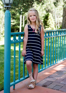 Girls All About the Stripes Navy/Ivory Striped Tank Dress