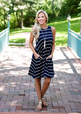 Mommy All About the Stripes Navy/Ivory Striped Tank Dress