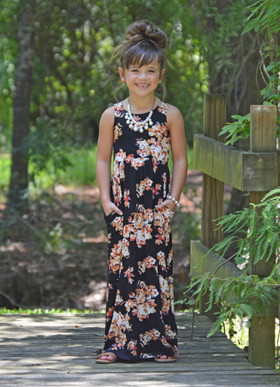 Girls Orange Floral Maxi Tank Black