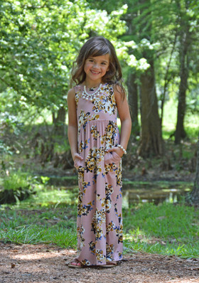 Girls Blue Floral Print Tank Maxi Dusty Rose