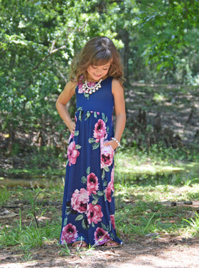 Girls Daydreaming Pink Floral Maxi Tank Dress Navy