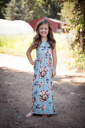 Girls Coral Floral Maxi Tank Dusty Blue