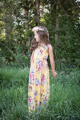 Summertime Floral Tank Dress Yellow