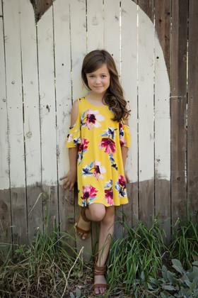 Girls Floral Open Shoulder Dress Mustard
