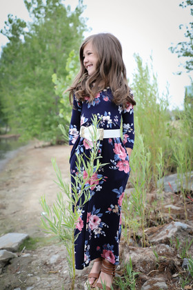 Girls In My Dreams Floral Pocket Dress Navy