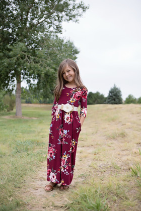Girls In My Dreams Floral Pocket Dress Burgundy