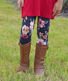 Girls Brushed Floral Leggings Black