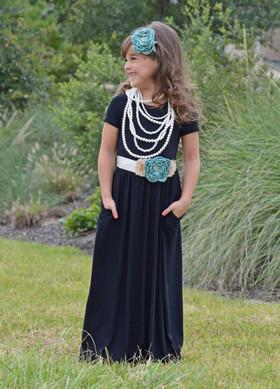 Cap Sleeve Cinched Maxi Dress Black