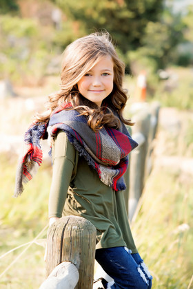 Girls Perfect for Fall Over Sized Blanket Scarf Navy and Red