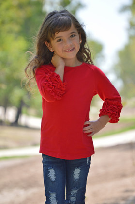 Girls Red Apple Long Sleeve Top With Ruffles