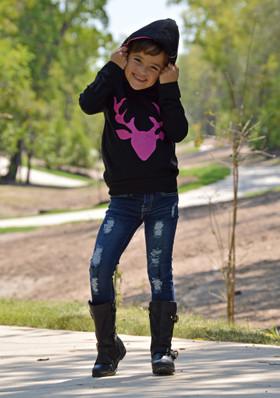 Girls Fun Times Black Hoodie With Pink Deer