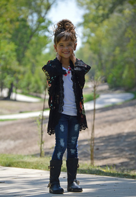 Girls Too Cute Floral Kimono with Lace Black