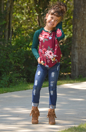 Girls Long Sleeve Floral Burgundy and Green with Elbow Patches