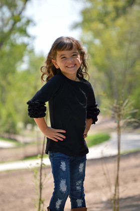 Girls Midnight Black Long Sleeve Top With Ruffles