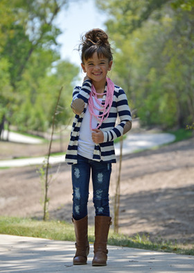 Girls Striped Navy and Ivory Cardigan with Elbow Patches