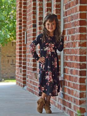 Girls Never Better Floral Midi Dress Black