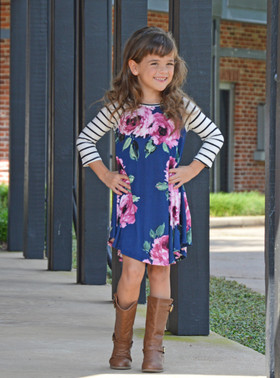 Girls Stripes on My Sleeves and Floral Dress Navy