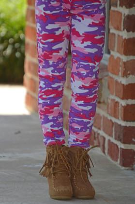 Girls Pink and Purple Rhinestone Camo Leggings