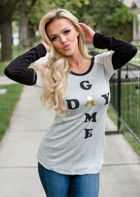 "Mommy ""Game Day"" Long Sleeve Baseball Tee Black and Gray"