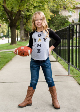 "Girls ""Game Day"" Baseball Tee Black and Gray"