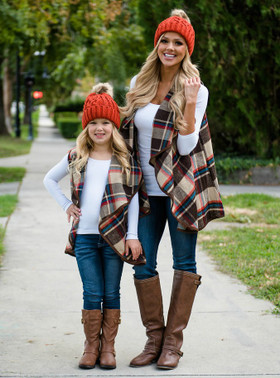 Mommy Fall Frenzy Plaid Vest Brown