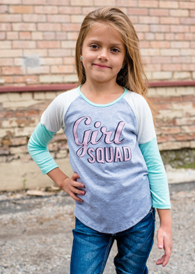 """Girls """"Girl Squad"""" 3/4 Sleeve Color Block Mint Top"""