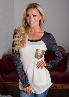 Mommy Not Your Average Top Black and Oat Sequin Pocket Long Sleeve