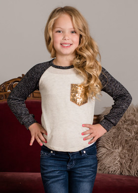 Girls Not Your Average Top Black and Oat Sequin Pocket Long Sleeve