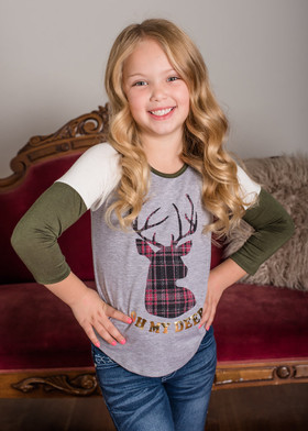 "Girls ""Oh My Deer"" Olive 3/4 Sleeve Top"
